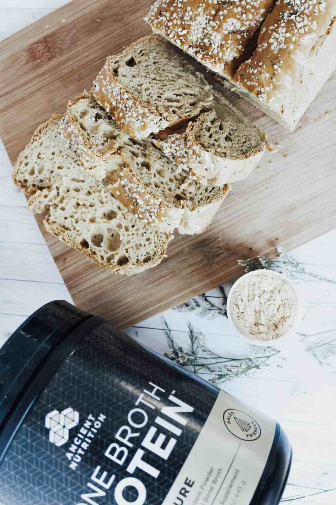 This 4 ingredient bone broth bread recipe is high in collagen, protein, & vital nutrients for gut health. Recipe is gluten free, paleo, & candida friendly.