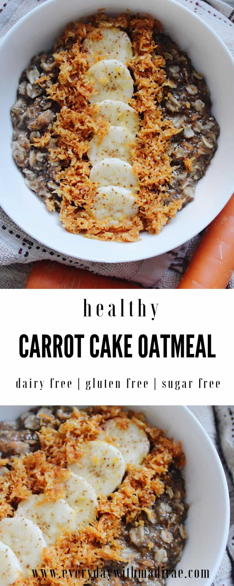 This healthy carrot cake oatmeal blends carrot cake flavor with superfoods, fiber, nutrients, & protein, thanks to Vital Proteins. Gluten & dairy free.
