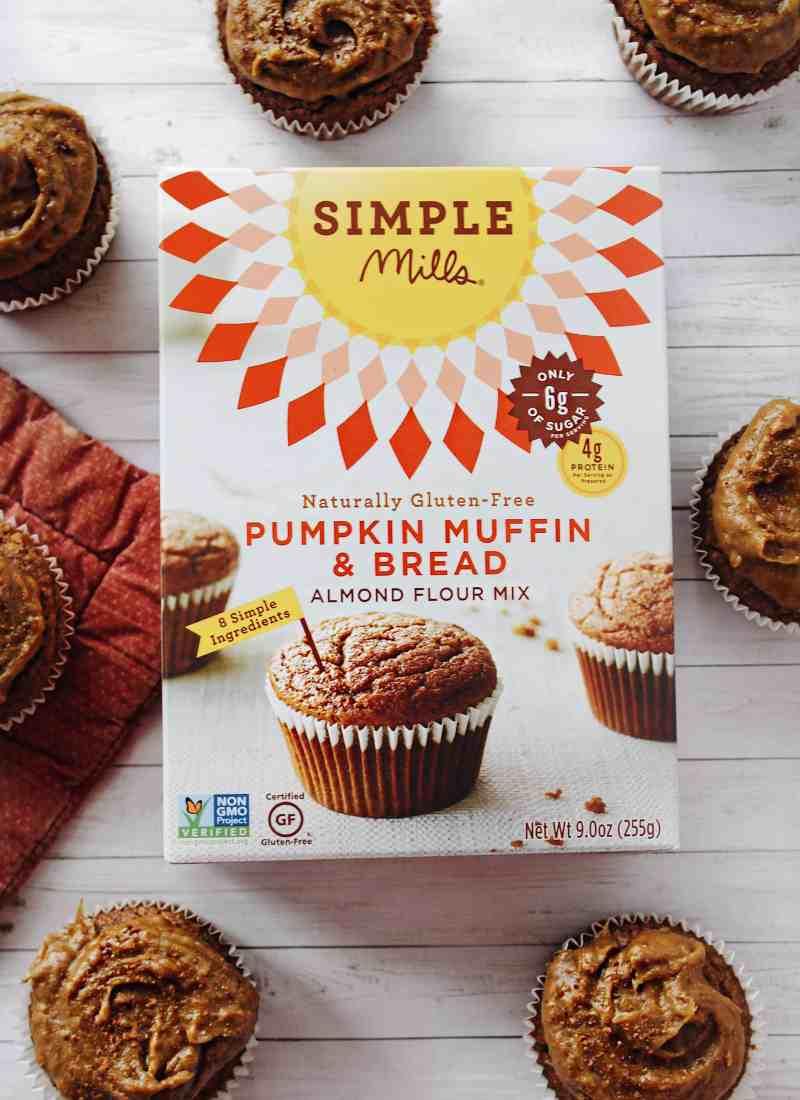 Simple Mills Pumpkin Muffins with Homemade Pumpkin Caramel Frosting