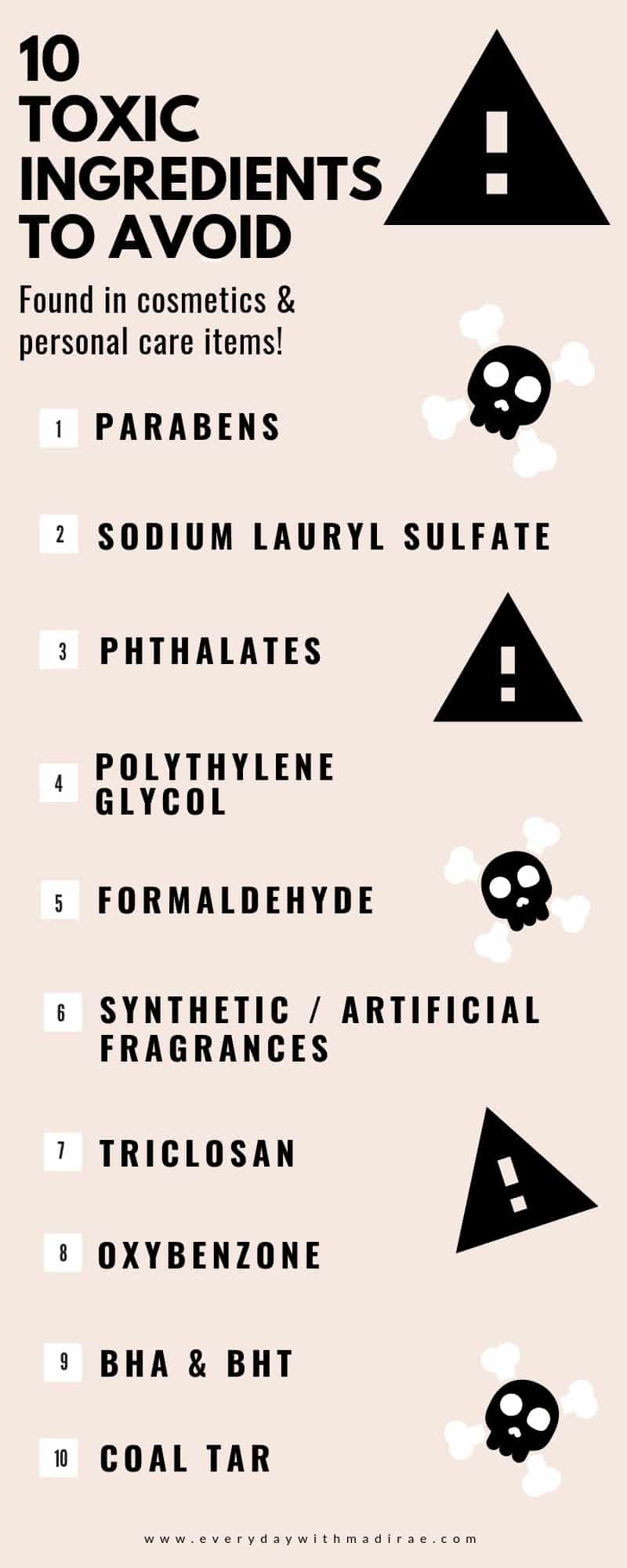 Sharing the importance of choosing clean beauty & personal care products due to the lack of U.S. regulations, plus, a list of 10 toxic ingredients to avoid!