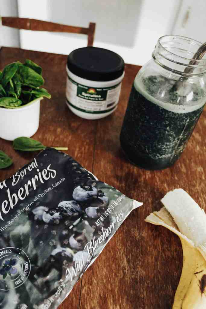 This amazing gluten free & vegan spirulina smoothie has been a game changer in my morning routine! Full of plant based protein, it keeps me full for hours!