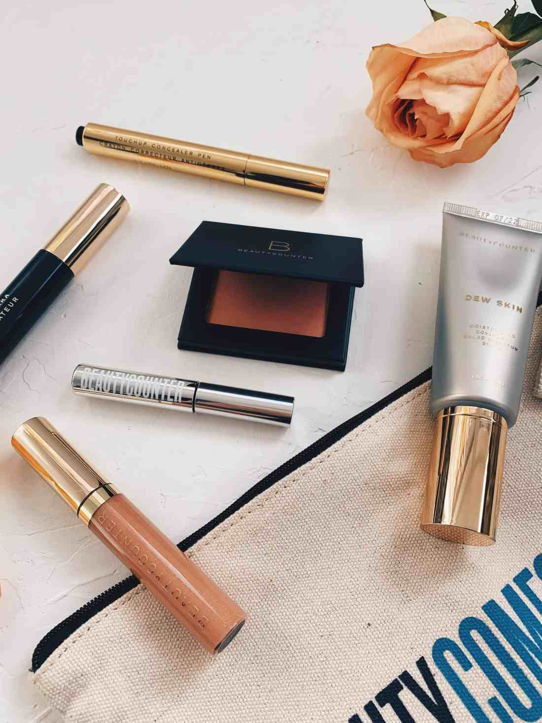Beautycounter Flawless in Five Review, including their Dew Skin Tinted Moisturizer, Satin Blush, Mascara, Lip Gloss, Touchup Concealer, & Brow Gel!