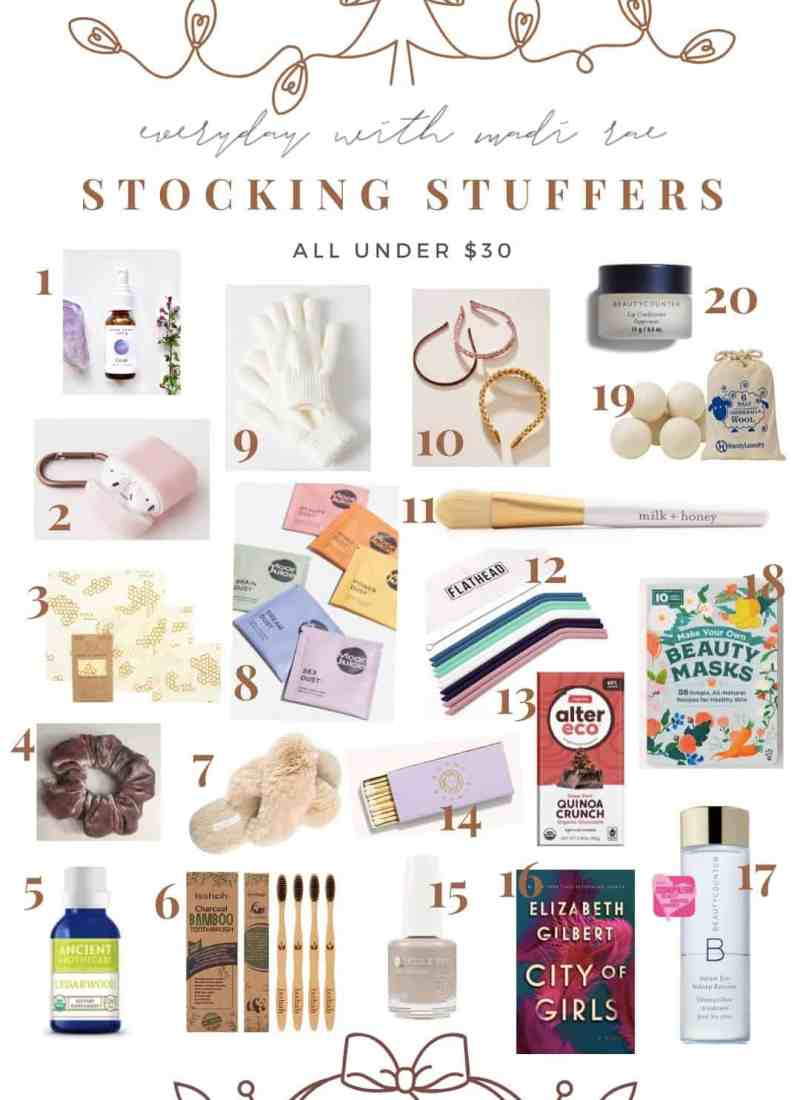 2019 Stocking Stuffers Under $30 - 20 amazing & affordable finds, including peppermint lip conditioners, reusable straws, cozy slippers, scrunchies & more!