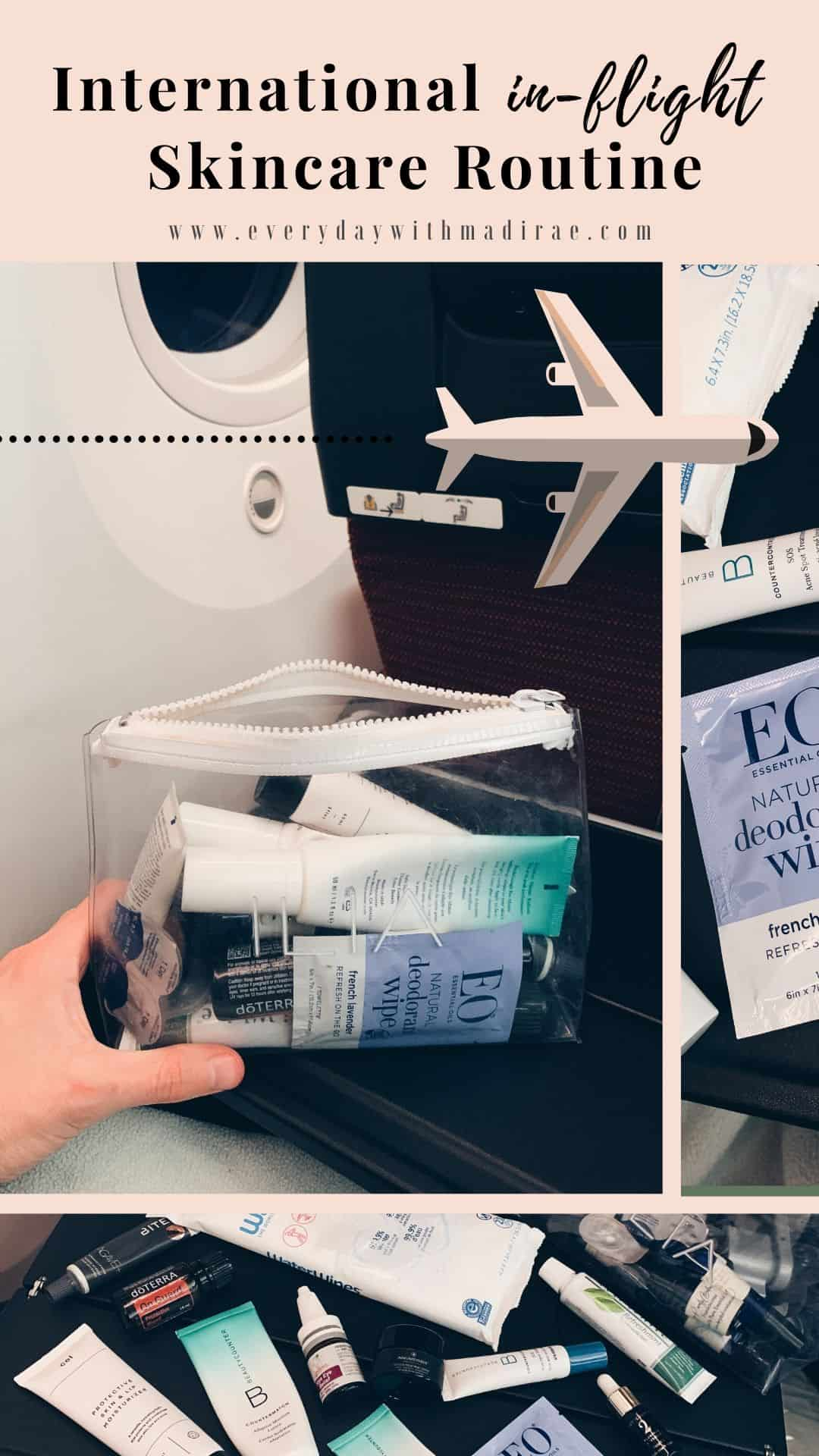 Sharing my international in-flight skincare routine & beauty essentials to survive a long haul flight, prevent airplane acne, skin dehydration, & more!