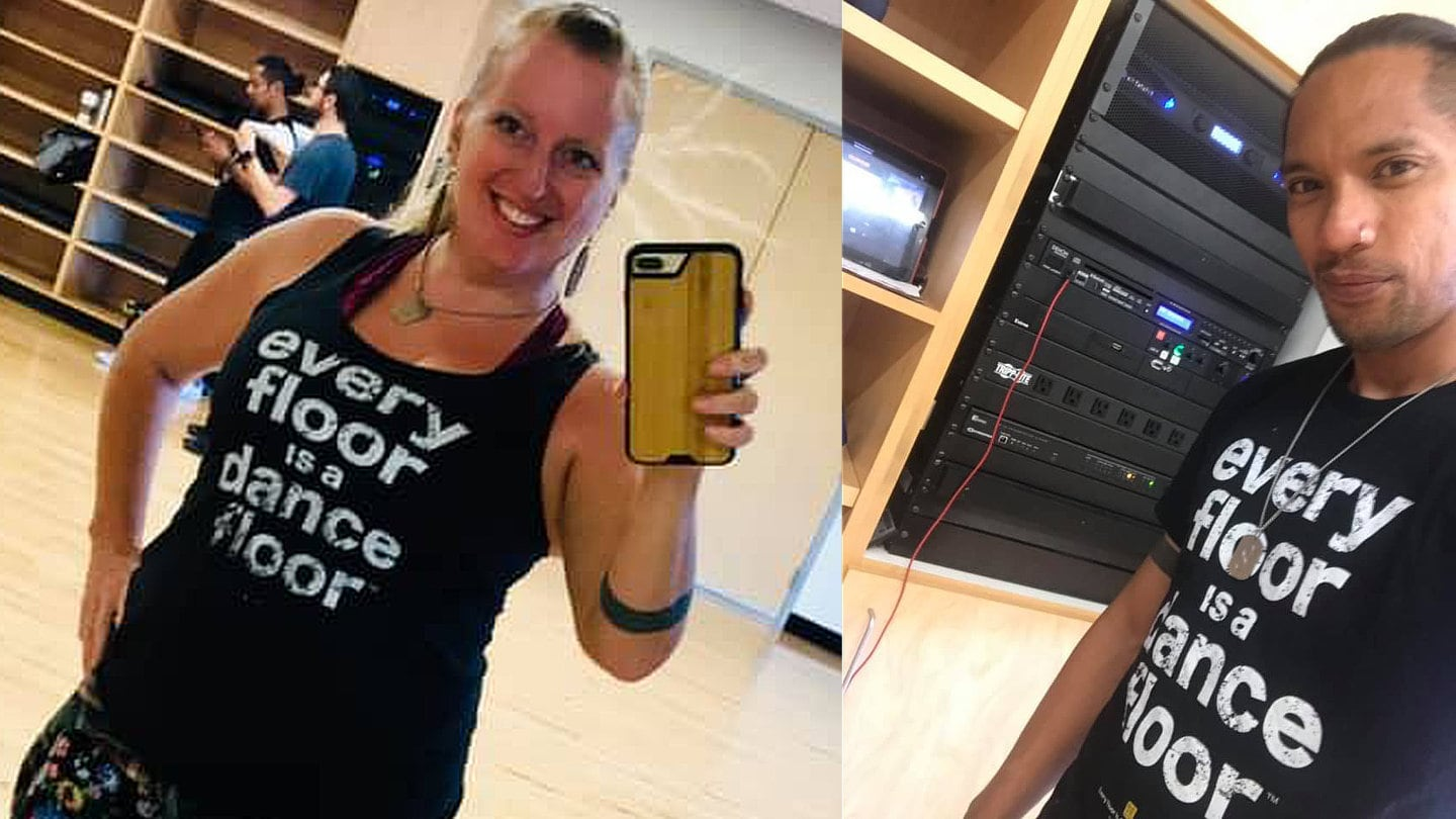 Eric & Corrie Ventura wearing Every Floor Is A Dance Floor™ t-shirts at their Dance Bootcamp at the University of Nevada, Reno (UNR).