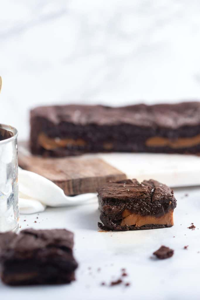 Dulce de Leche Stuffed Fudge Brownies with homemade dulce de leche