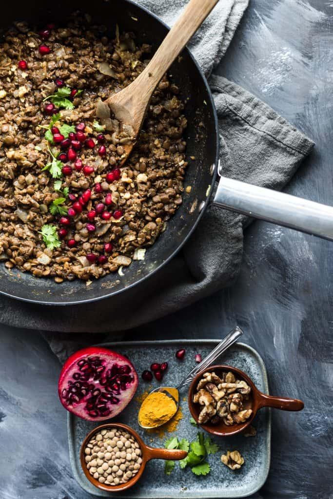 Vegan Fesenjan in a saucepan