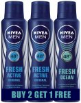 Amazon India : Nivea Fresh Active Deodrant, 150ml (Buy 2 Get 1 Free) at Rs.359