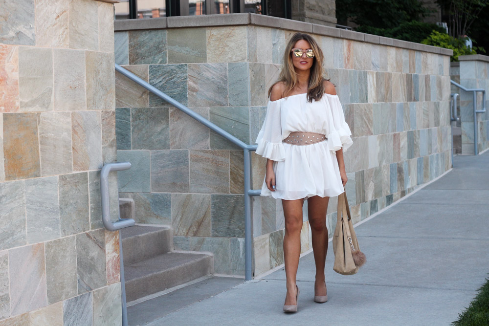 amber from every once in a style wearing chic wish ruffle off the shoulder romper