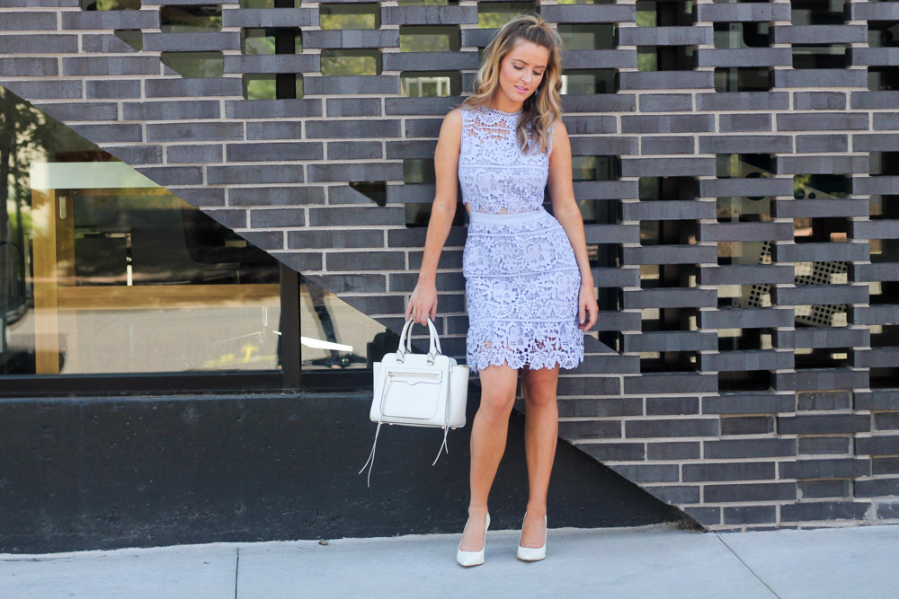 amber from every once in a style wearing a  Blue Side Hollow Lace A-Line Dress