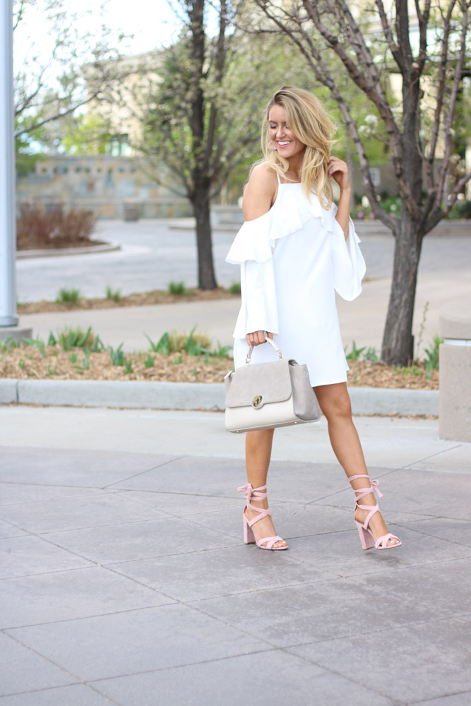 White Ruffle Cold Shoulder dress