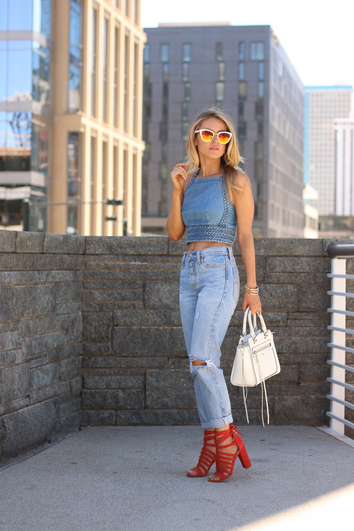 Amber from every once in a style wearing denim jeans | denim crop top