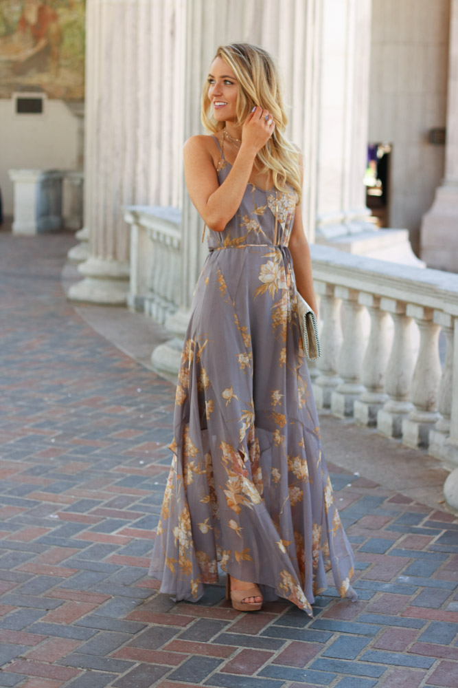 Amber from Every once in a Style is wearing a lulu's maxi dress