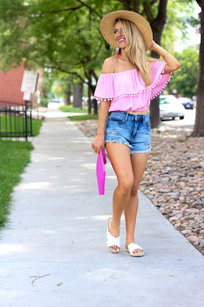 Off the shoulder pom pom top | denim shorts | espadrille sandals