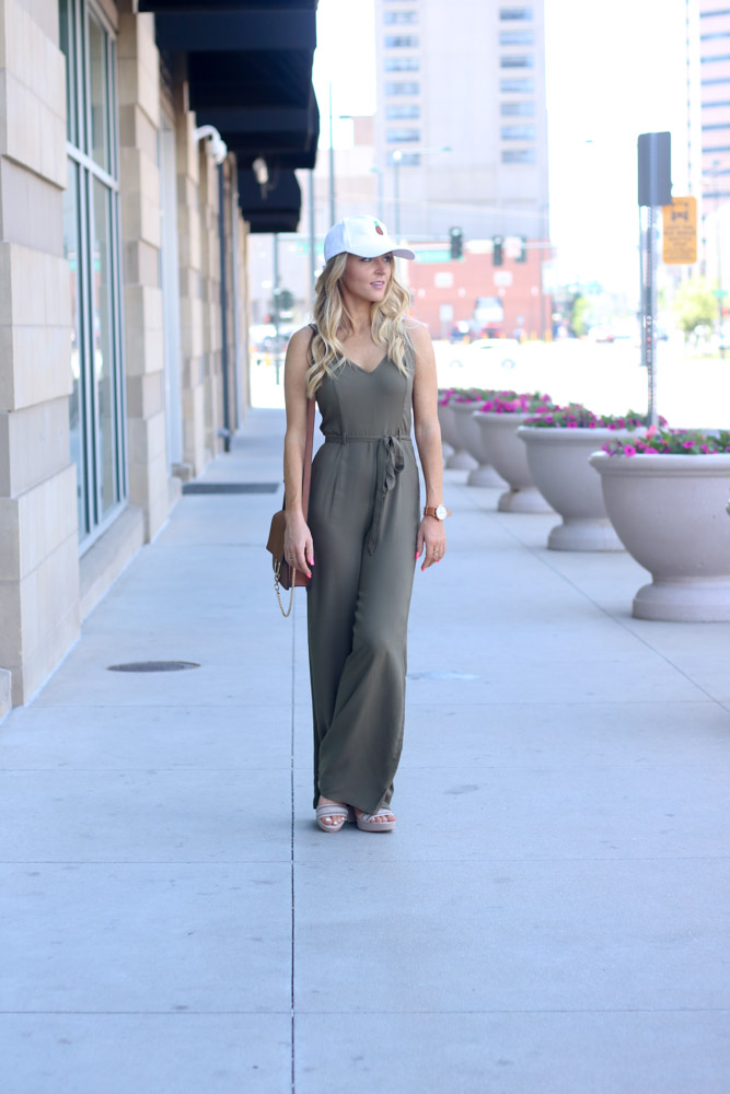wide leg jumpsuit | baseball cap