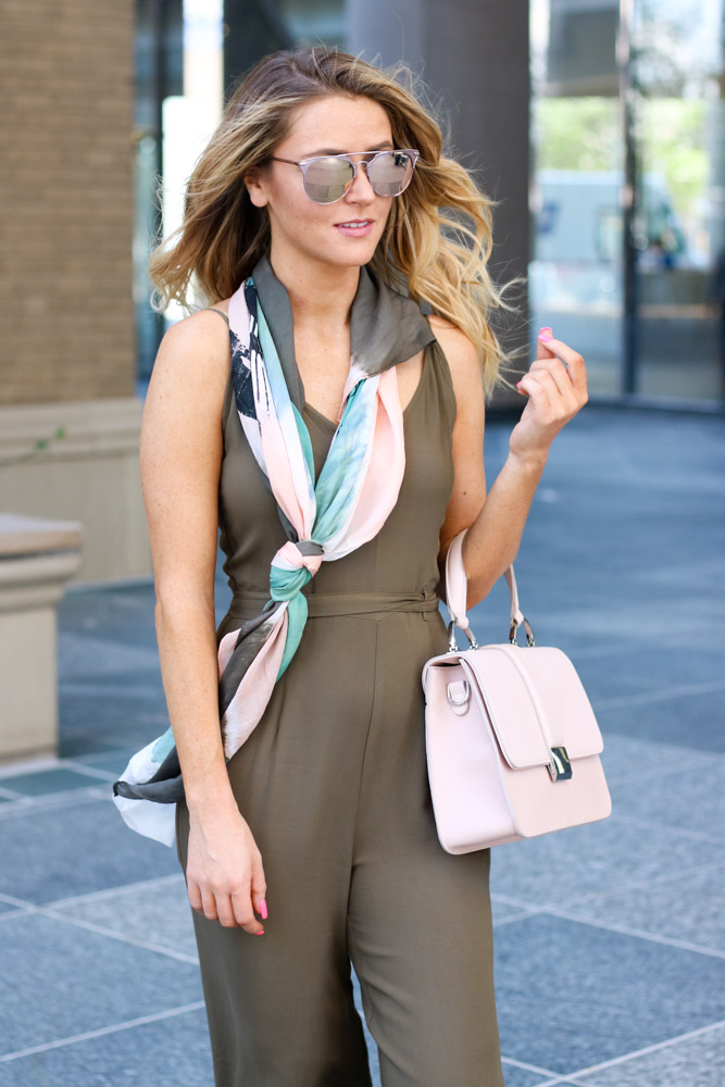 wide leg jumpsuit | satchel bag  | silk scarf