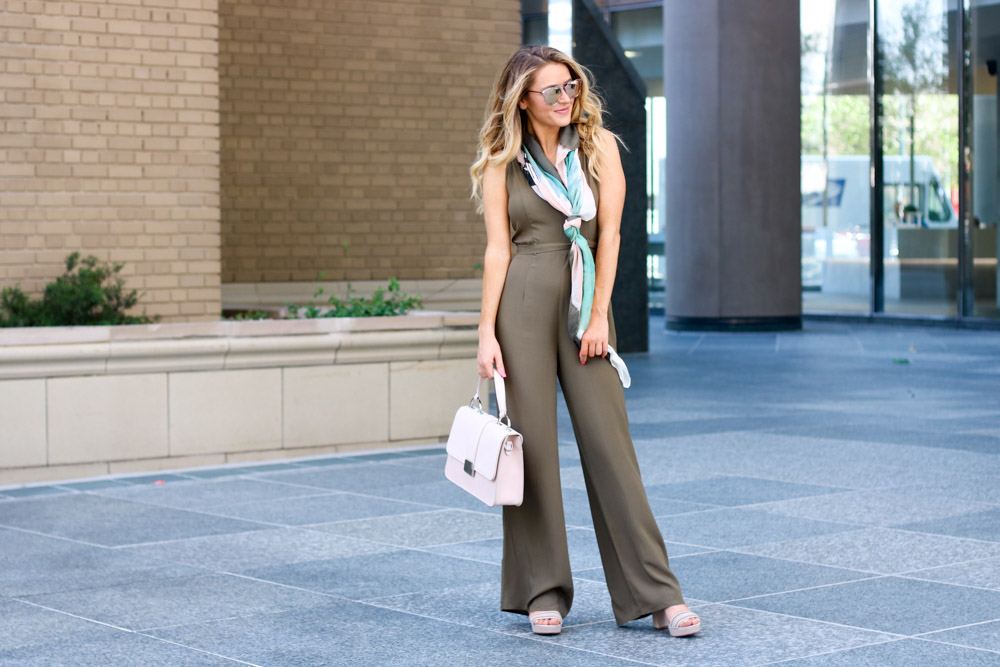 wide leg jumpsuit | satchel bag |silk scarf
