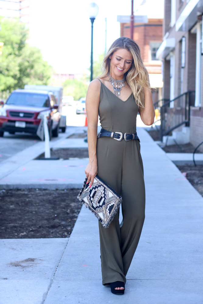 wide legged jumpsuit | embellished envelope clutch