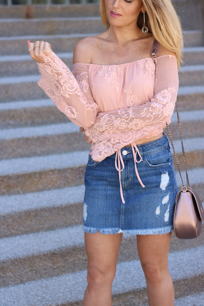 | off the shoulder lace top | denim mini skirt | rose gold bag