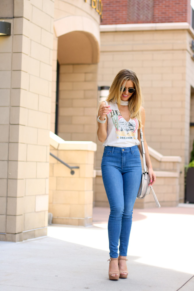 platform heels | denim jeans | ray-ban sunglasses