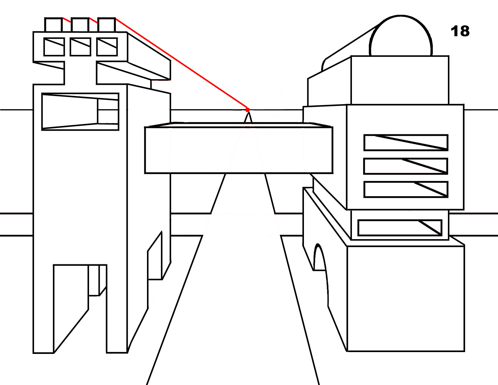 One Point Perspective Step By Step Example Of Complex Shapes