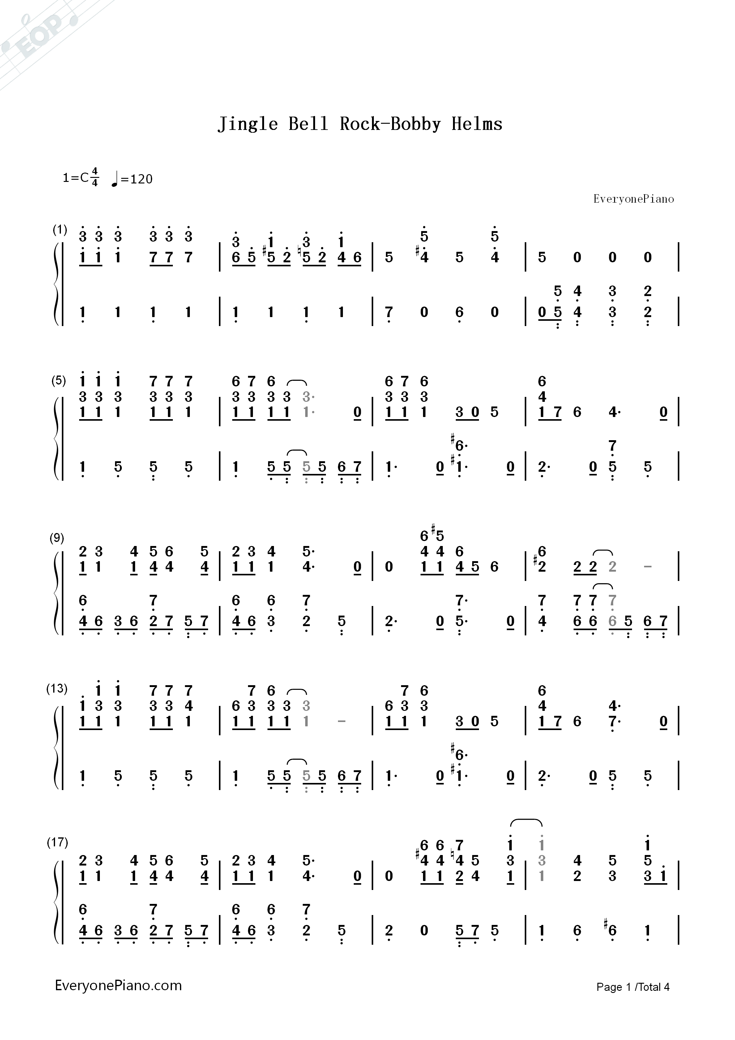 Jingle Bell Rock Bobby Helms Numbered Musical Notation Preview