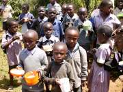 hungry students waiting for their noonday meal in Lanet Umoja