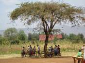 Staying cool under the one shade tree at our school in Kampi Ya Moto