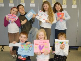 "students at Precious Moments School in vermont with their ""Messages of Mercy"" lettersMessages of Mercy"