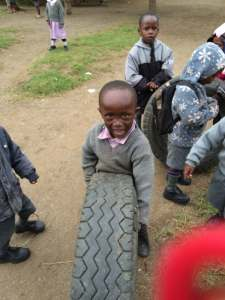 boy with a tire