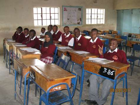 EC students sitting in a classroom in Kenya