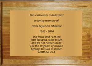 Dedication plaque for Heidi Albanese