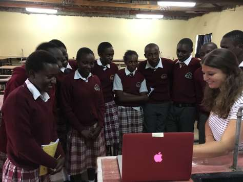 """Mentorship students at BEDSS having a """"value added"""" moment as tehy watch the video make by the HUMS girls"""