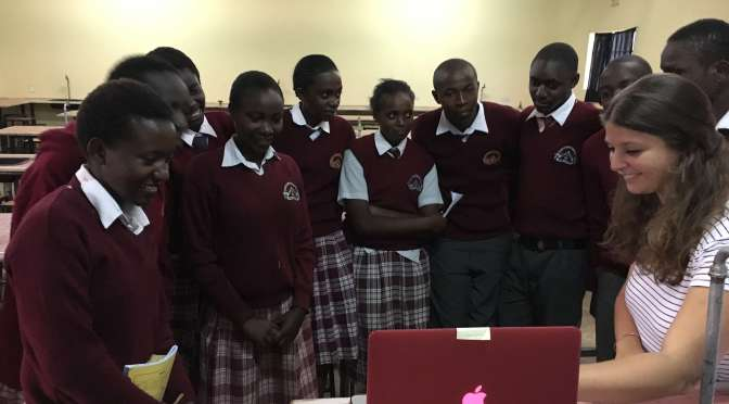 Mentorship students at BEDSS watching the video make by the HUMS girls