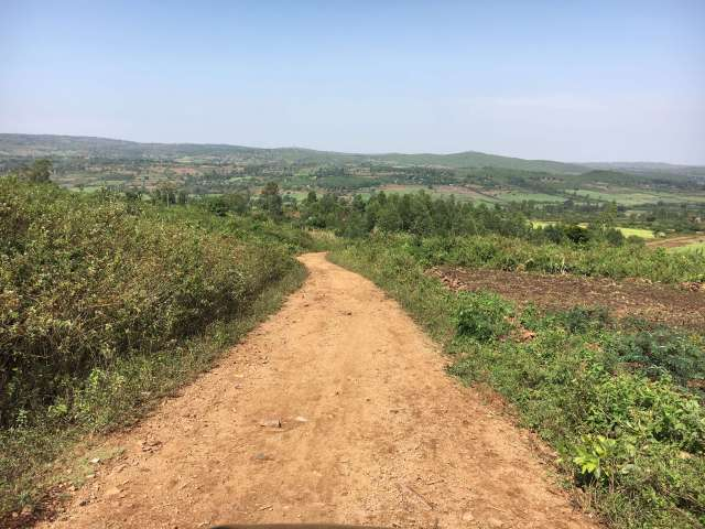 Beautiful fields and rocky dirt road leading to Miruya Primary School