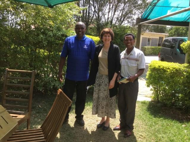 Ruth with Sebastian Maina and Cyrus Mugi - two head teachers in Nakuru