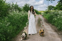 Rebecca walking her gorgeous dogs to a field for a run