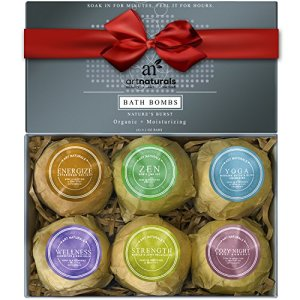 Art-Naturals-Bath-Bombs-Holiday-Gift-Set-6-X-41-Oz-Ultra-Lush-Essential-Oil-Handmade-Spa-Bomb-Fizzies-Organic-Natural-Ingredients-Shea-Butter-for-Moisturizing-Dry-Skin-Relaxation-In-a-Box-0