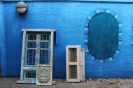 Blue wall and doors