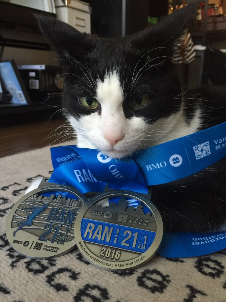 Hobbes is modelling 2 years of BMO Half Marathon medals