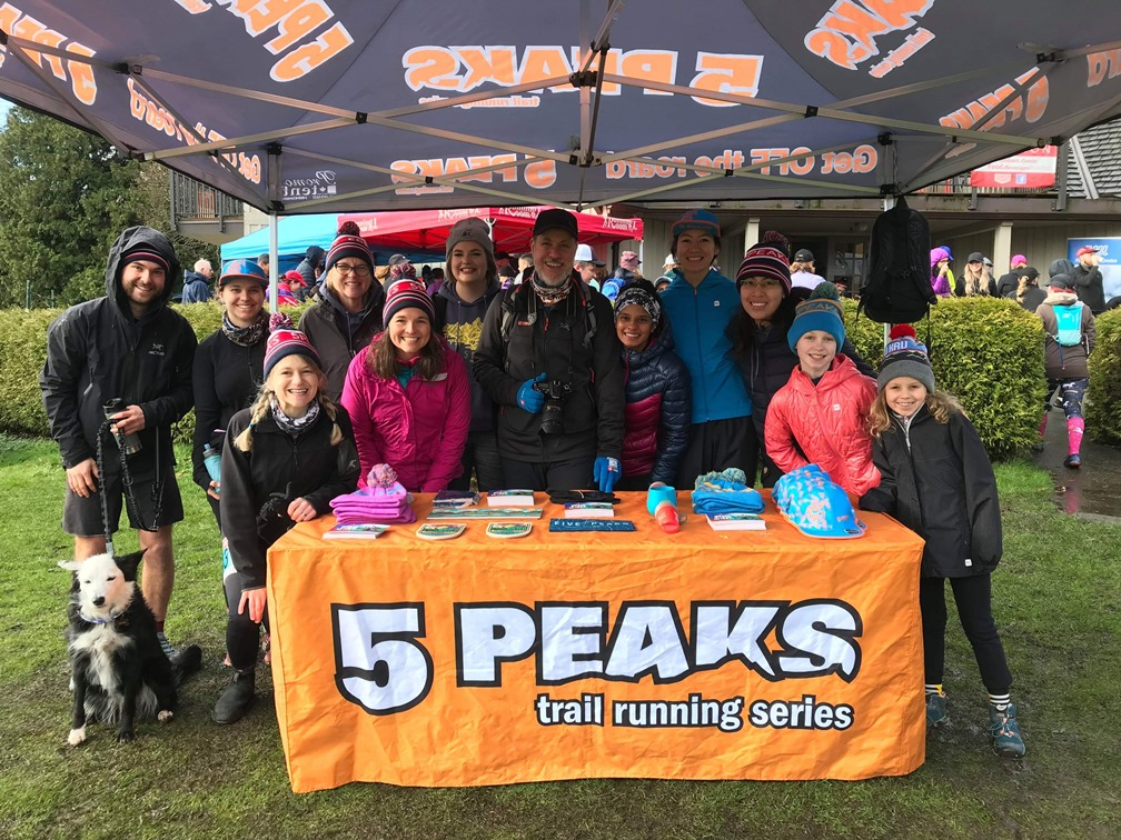 Group photo of the 5 Peaks trail running ambassadors