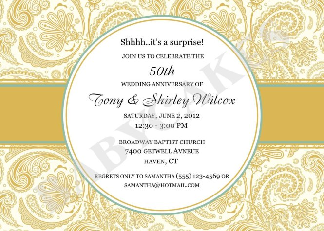 30 50th Anniversary Invitations Templates Simple Template