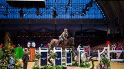 Italy's Emanuele Gaudiano and Admara produced a devastating turn of speed in the jump-off to win the seventh leg of the Longines FEI World Cup™ Jumping 2015/2016 Western European League at Olympia, London (GBR) today. (FEI/Jon Stroud)
