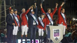 Show Jumping Team Belgium topped the podium at the Furusiyya FEI Nations Cup™ Jumping Final in Barcelona (ESP) last season. The excitement begins all over again this week with the first two qualifiers of the 2016 Furusiyya series taking place at Al Ain (UAE) and Ocala (USA). (FEI/Dirk Caremans)