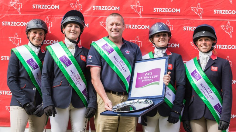 British Eventing Team The winning British team at Strzegom (POL), fourth leg of the 2016 FEI Nations Cup™ Eventing: (left to right): Izzy Taylor, Laura Collett, Chef d'Equipe Philip Surl, Holly Woodhead and Rosalind Canter. (FEI/Eventing Photo)