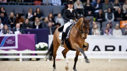 Germany's Isabell Werth strutted to her fifth victory in the FEI World Cup™ Dressage 2017 Western European League in Gothenburg, Sweden today riding Emilio. (Stefan Lafrentz/FEI)