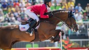 USA's Kent Farrington, the new Longines world number one, en route to team silver with Voyeur at the Rio 2016 Olympic Games. (FEI/Richard Julliart)