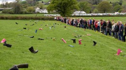 New World record for 'The Most People Throwing Wellington Boots Simultaneously'