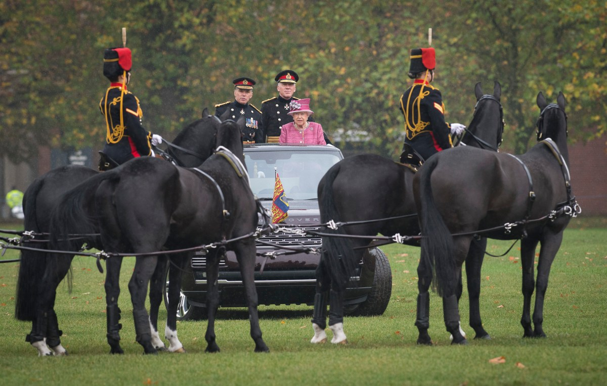 Her Majesty The Queen inspects the King's Troop Royal Horse Artillery on their 70th Anniversary Parade