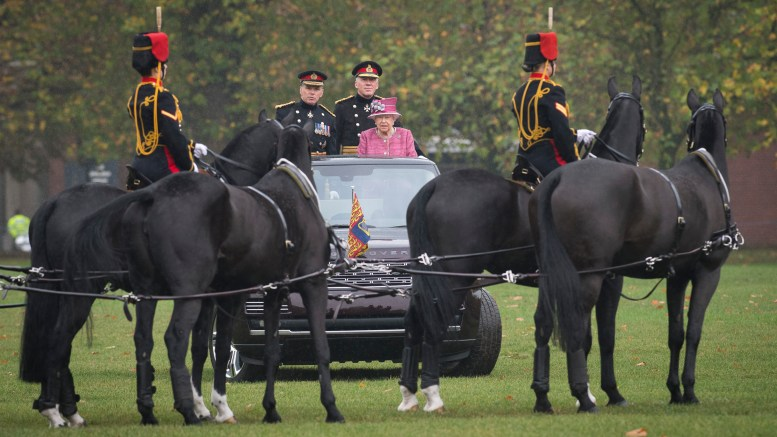 King's Troop Royal Horse Artillery - Pictured: Her Majesty The Queen inspects the parade. Image Corporal Dek Traylor / MoD Crown Copyright